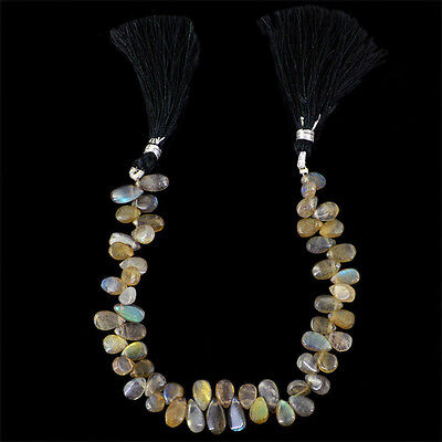 Top Elegant 83.55 Cts Natural Untreated Tear Drop Labradorite Beads Strand