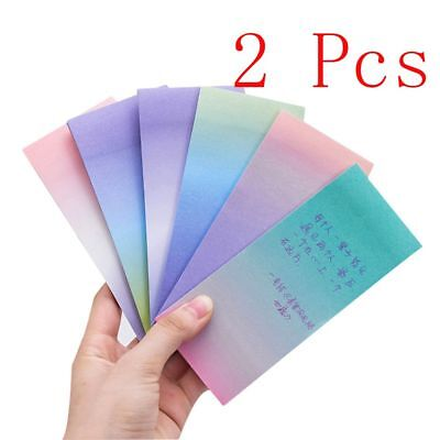 2pcs Long Gradient Paper Sticky Notes Cute Memo Pads Office School Supplies