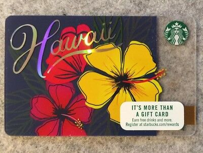 "2017 STARBUCKS ""Hawaii"" Hibiscus Flowers State Card Brand New"
