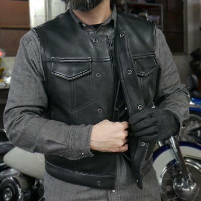 Mens New Collarless Motorcycle Vest Sons Of Anarchy Genuine Leather Vest Biker