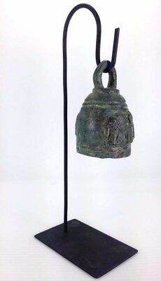 Chime Bell Buddha Clapper Elephant Temple Hang Stand Thai Bronze Feng Shui Decor