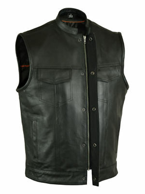 New Sons Of Anarchy Style Leather Vest Genuine Leather Black Zip Motorcycle Vest