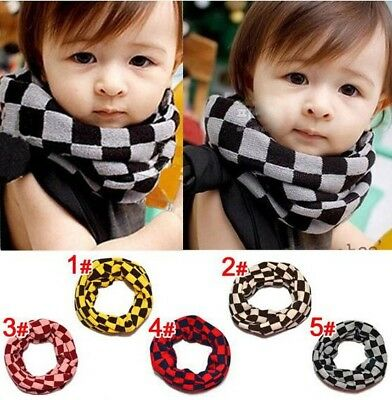 Children Kid Boys Girls Grid Scarves Woolen Yarn Winter Warm Scarf Snood