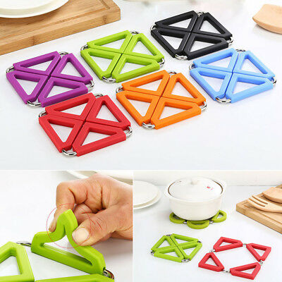 Foldable Silicone Stainless Trivet Mat Heat Resistant Pan Pot Pad Holder Coaster