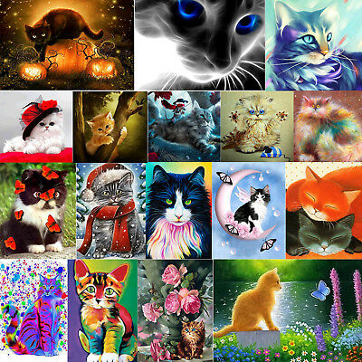 Cat 5D Diamond Painting Embroidery DIY Cross Stitch Craft Home Office Wall Decor