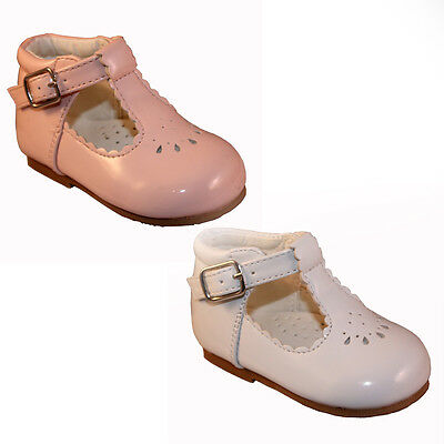 Baby Toddler Girl Walking Shoes Spanish Style Patent White Pink T Bar Shoes 2-6
