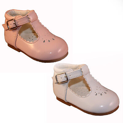 Baby Toddler Girls Sevva Spanish Style Patent White Pink T Bar Shoes Infant 2-6