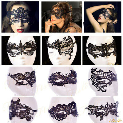 womens Ladies Black White Masquerade Mask Sexy Lace venetian Sleep Eye Mask Cat