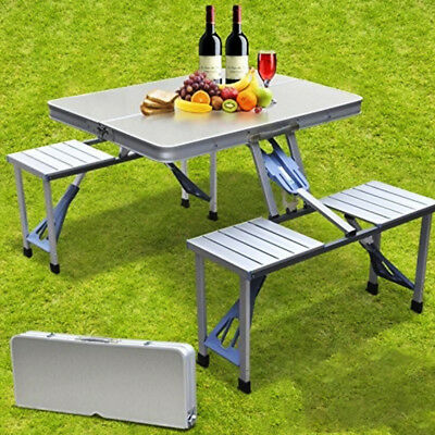 Folding Aluminum Picnic Table 4 Seats Chairs Camping +Case for Outdoor Pop