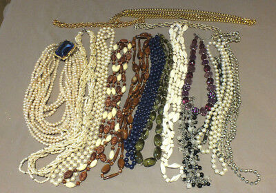 Costume jewellery job lot vintage style glass beads pearls . 17 x necklaces