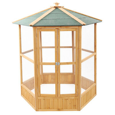 "64"" Wooden Aviary Hexagonal Flight House Cage Ideal for Birds  Parrot Poultry"