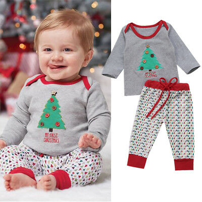2pcs Kids Baby Boy Christmas Clothes Hoodies T-shirt+Long Pants Outfits Sets 9a216a3c1