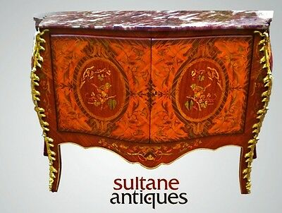 GRANDIOSE sideboard Credenza LOUIS XIV style red Marble