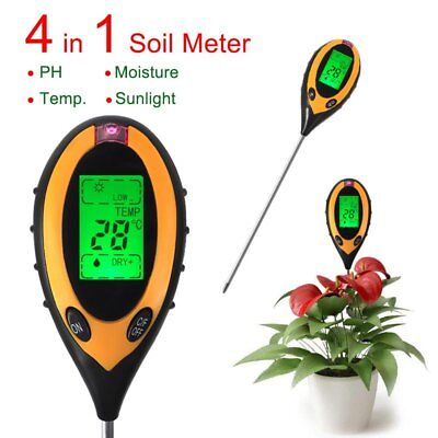 4 In 1 Digital pH Moisture Sunlight Soil Meter Tester LCD Display For Plants