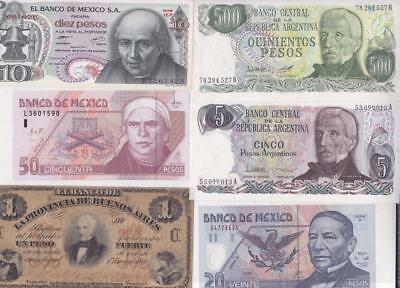 12 South & Central America Banknotes:argentina, Mexico  E20