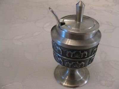 Royal Pewter Thailand Mustard pot with hallmark silver spoon.