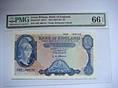 GB Britannia £5 1957-1967 A Series PMG GRADED 66EPQ THUS V RARE