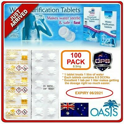 Oasis Water Purification Tablets 100 Pk Survival Hiking Camping Purifier Prepper