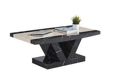 Marble Effect Coffee Table in Black and Brown Solid MDF Coffee Table -not marble
