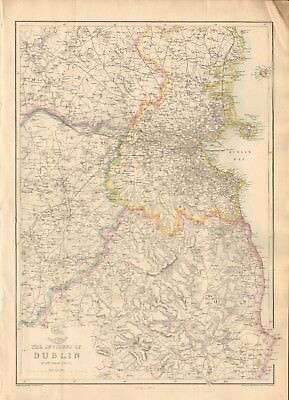 1863  Large Antique Map - Dispatch Atlas- Environs Of Dublin