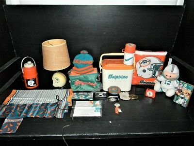 Lot Of 20 Vintage Various Miami Dolphins Items Lamp Cooler Thermos Throw Hat