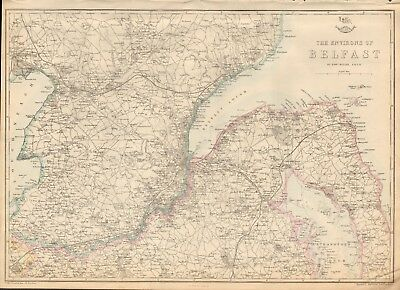 1863  Large Antique Map - Dispatch Atlas- Environs Of Belfast