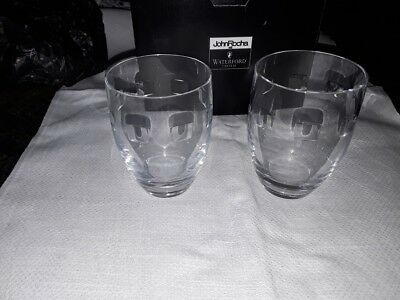 2 Waterford Crystal John Rocha Tumblers Geo Design Boxed In Mint Condition