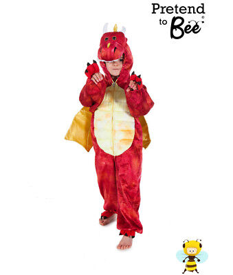 Kids Childrens Boys Girls Child Deluxe Chinese Red Dragon Costume Outfit Age 3-7