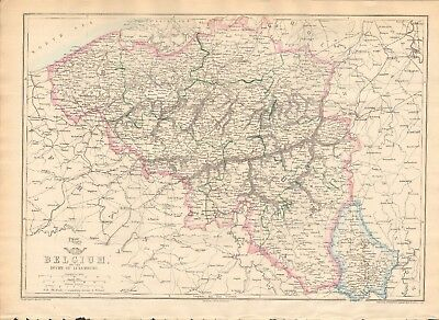 1863  Large Antique Map - Dispatch Atlas- Belgium And The Duchy Of Luxembourg