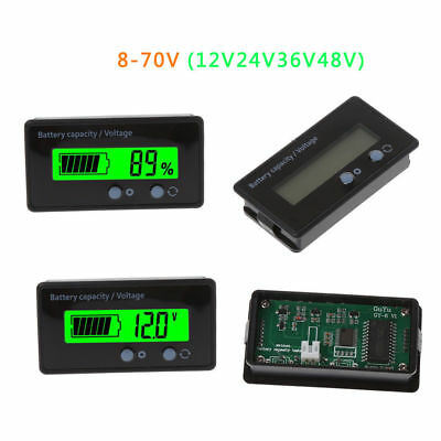 8-70V 12V 24V 36V 48V LCD Acid Lead Battery Capacity Voltage Voltmeter Tester