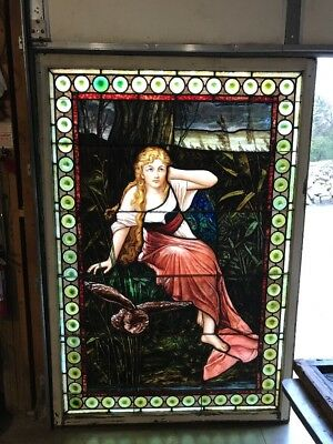 Fairies antique Stainglass landing window listening to the fairies 54 x 78.5