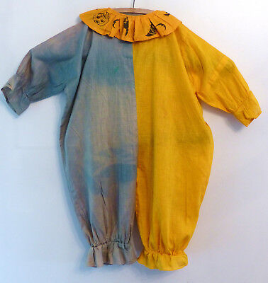 Antique VINTAGE 1920-1930s CHILD Jester CLOWN Litho Ruffed Halloween Costume #1