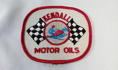 Vintage Sew-On Kendall Motor Oils Patch - Snowmobile- Checkered Flags