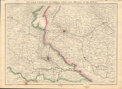 1863  Large Antique Map - Dispatch Atlas- Great Fortresses Of L0Mbardo