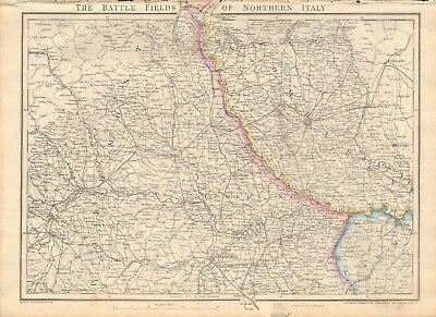 1863  Large Antique Map - Dispatch Atlas- Battle Fields Of Northern Italy