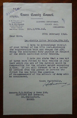 Essex County Council letter to Ridley & Sons re Morris Vehicle GVW 146