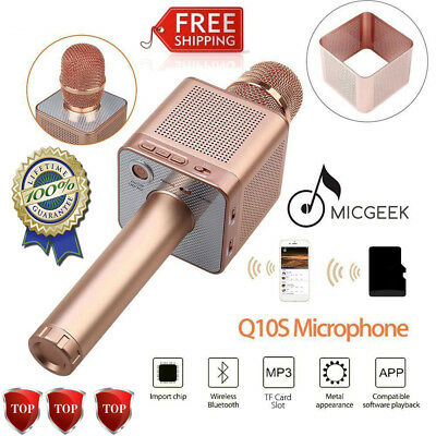 MicGeek Q10S Wireless Microphone Bluetooth Karaoke Player Portable For Android#Y
