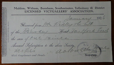 Maldon & District Licensed Victualler's Association Annual Subs Receipt