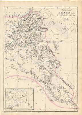 1863  Large Antique Map - Dispatch Atlas- Armenia And Kurdistan, Assyria And Mes