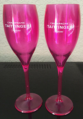 Taittinger Champagne Nocturne Rose Flutes X 2 Polycarb Poolside Hot Tub X 2