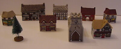 8 Wade Whimsey Miniature Stores Houses Buildings Church Station  Bonus of Tree