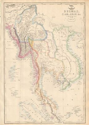 1863  LARGE ANTIQUE MAP - DISPATCH ATLAS- INDIA- BURMA, SIAM, ANAM &c