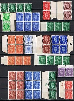 George V1- 57 stamps-Mint Never Hinged collection of blocks and Marginal strips