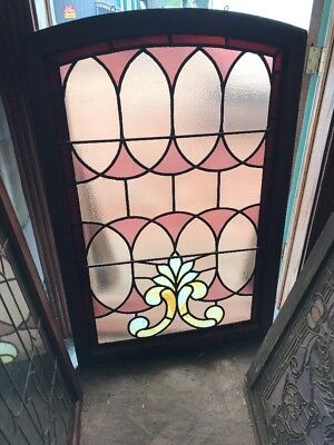 Sg 1585 Antique Stainglass Landing Window 34.25+52.5 Arch Top