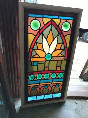 Sg 1587 Antique Eastlake Design Stainglass Window 17.75 X 33.75