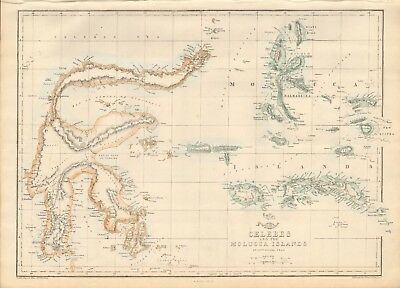 1863  Large Antique Map - Dispatch Atlas- Celebes And Molucca Islands