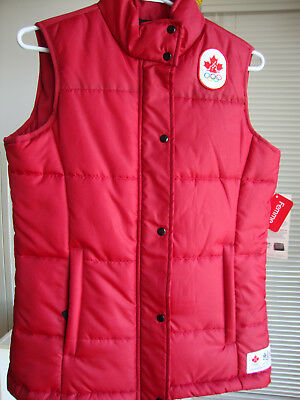 Canada Winter Olympic Hbc Quilted Full Zip Vest Jacket Women Size Xs - Red
