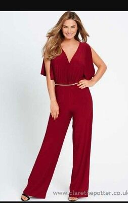 deep red wide leg belted jumpsuit 12 new without tags  samantha faiers