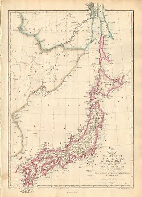 1863  Large Antique Map - Dispatch Atlas- The Empire Of Japan, River Amoor