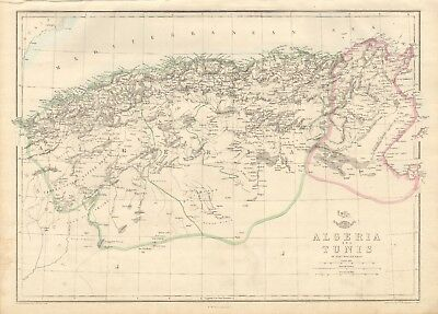 1863  Large Antique Map - Dispatch Atlas- Algeria And Tunis